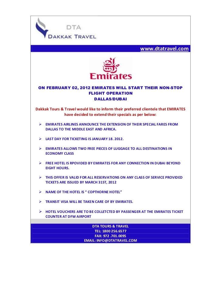 www.dtatravel.com ON FEBRUARY 02, 2012 EMIRATES WILL START THEIR NON-STOP                    FLIGHT OPERATION             ...