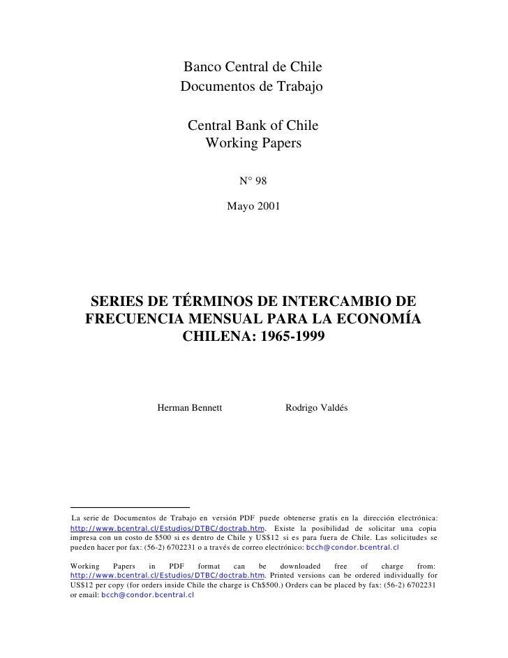 Banco Central de Chile                               Documentos de Trabajo                                   Central Bank ...