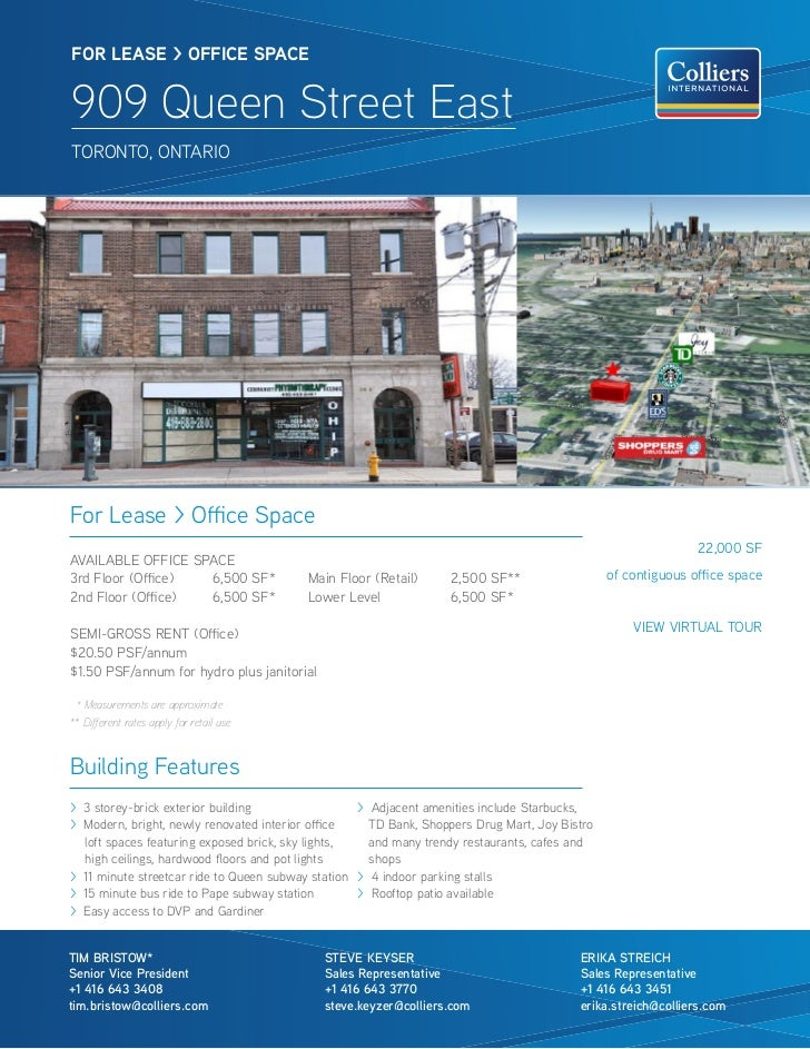 FOR lease > OFFICe sPaCe909 Queen Street EastTORONTO, ONTARIOFor Lease > Office Space                                     ...