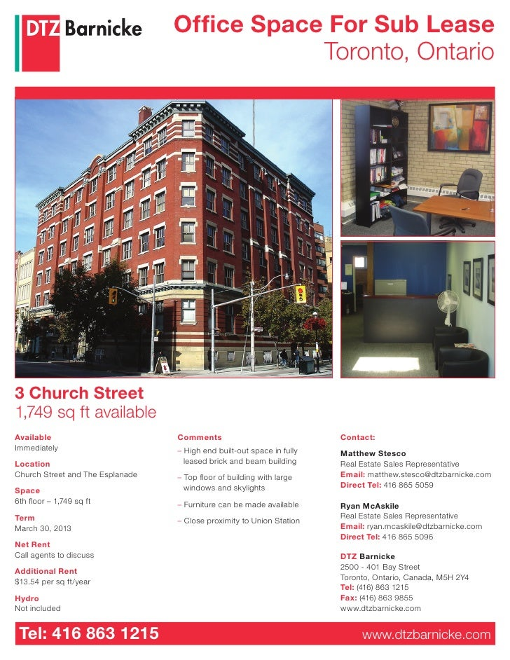 Office Space For Sub Lease                                               Toronto, Ontario     3 Church Street 1,749 sq ft ...