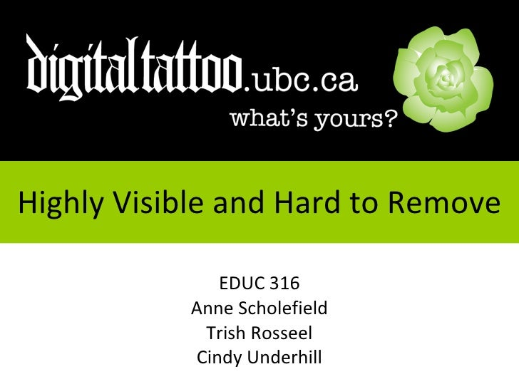 Highly Visible and Hard to Remove EDUC 316 Anne Scholefield Trish Rosseel Cindy Underhill