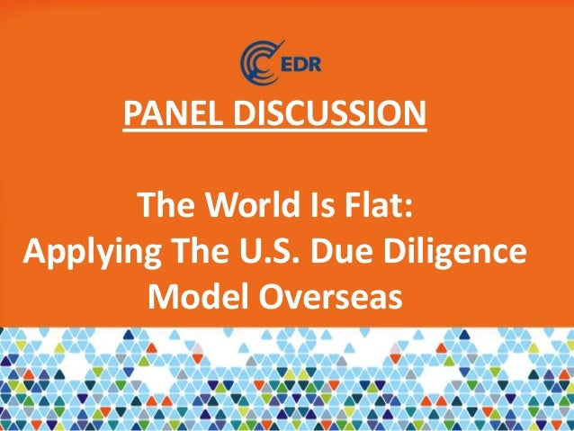 PANEL DISCUSSIONThe World Is Flat:Applying The U.S. Due DiligenceModel Overseas