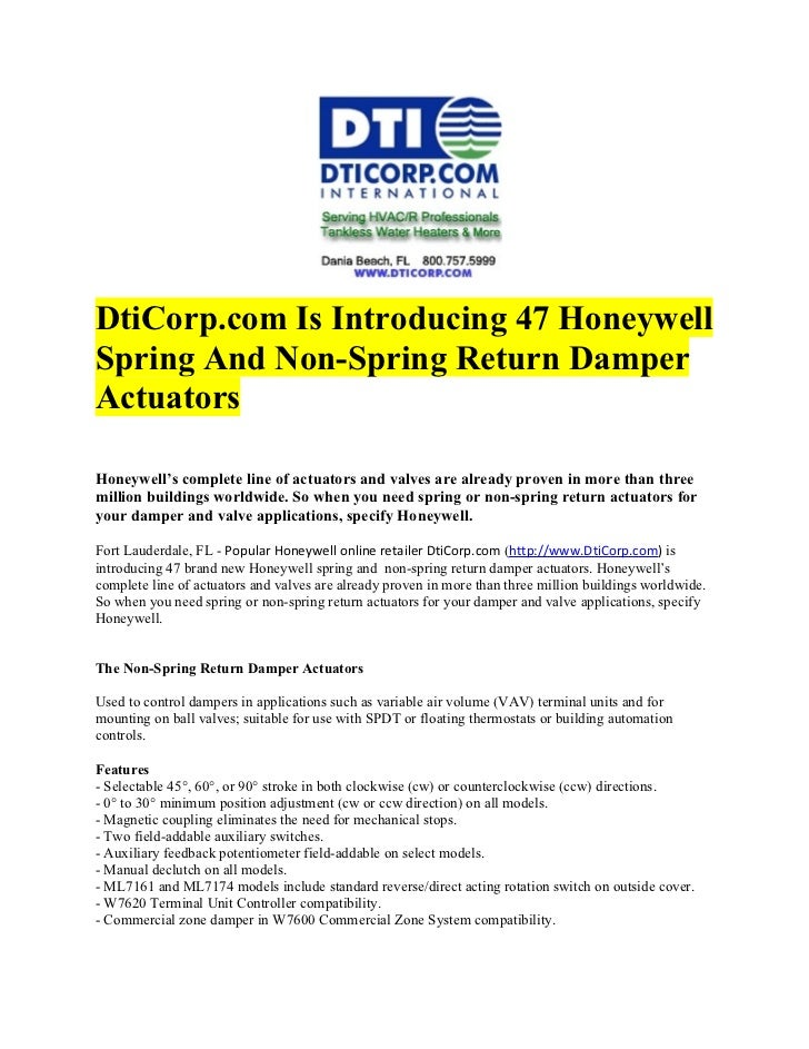 DtiCorp.com is introducing 47 honeywell spring and non spring return damper actuators