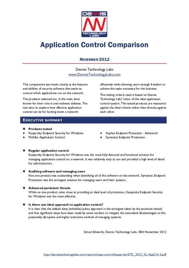 Application Control Comparison                                            NOVEMBER 2012                                   ...