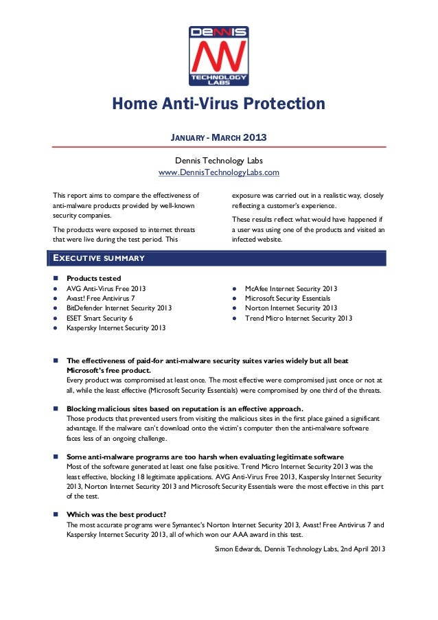 Home Anti-Virus ProtectionJANUARY - MARCH 2013Dennis Technology Labswww.DennisTechnologyLabs.comThis report aims to compar...