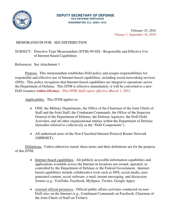 Directive-Type Memorandum (DTM) 09-026 - Responsible and Effective Use of Internet-based Capabilities