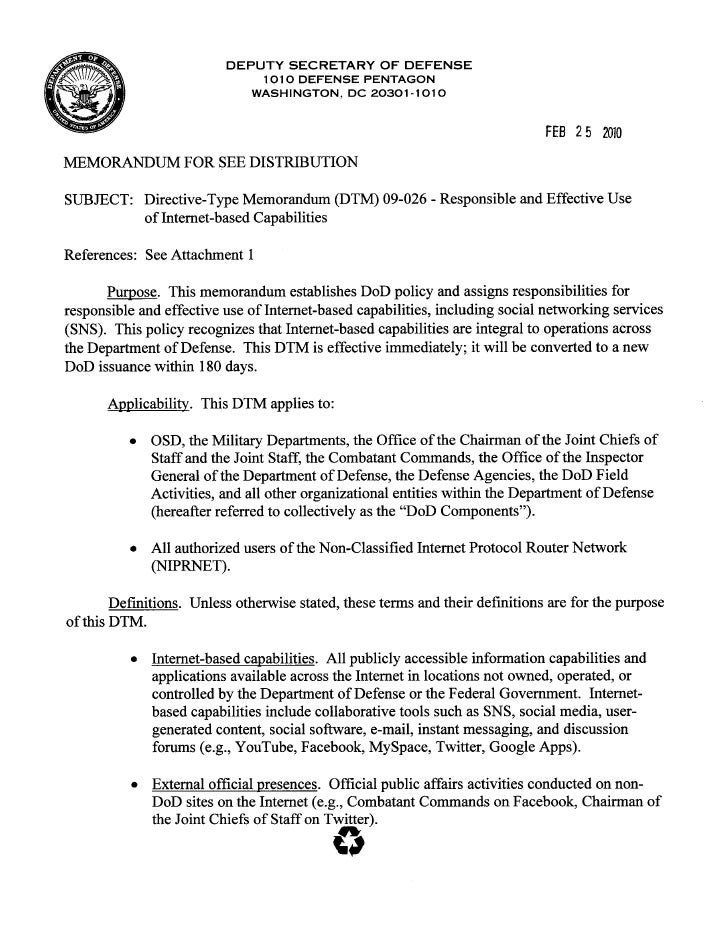DoD Official Social Media Policy