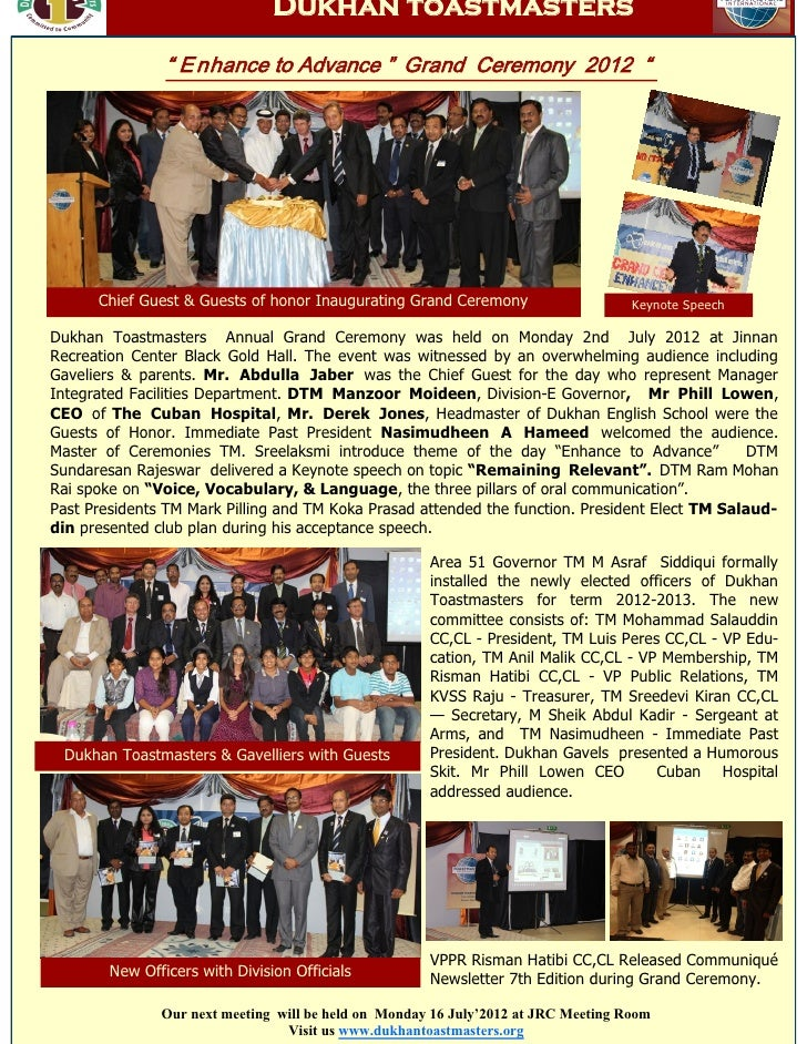 """Dukhan toastmasters                """" E nhance to Advance """" Grand Ceremony 2012 """"      Chief Guest & Guests of honor Inaugu..."""