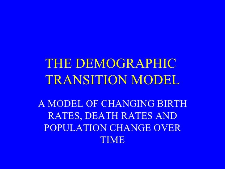THE DEMOGRAPHIC  TRANSITION MODEL A MODEL OF CHANGING BIRTH RATES, DEATH RATES AND POPULATION CHANGE OVER TIME