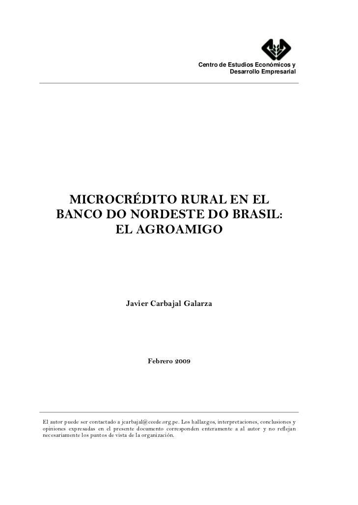 Microcrédito Rural en el Banco do Nordeste de Brasil: El Agroamigo