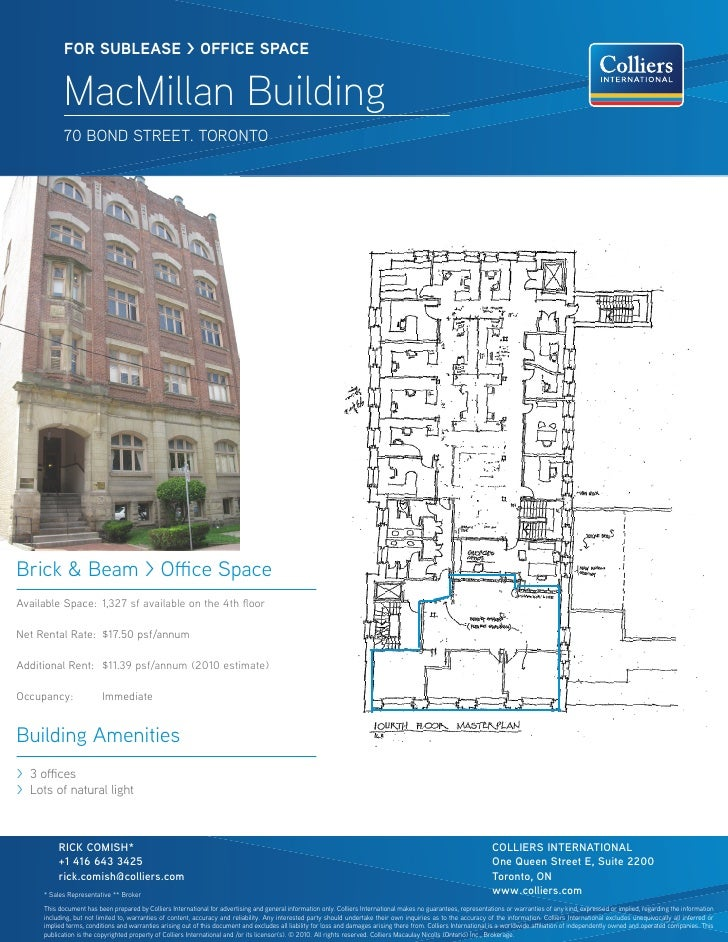 FOR sublease > OFFICe sPaCe            MacMillan Building            70 BONd StReet. tORONtOBrick & Beam > Office SpaceAva...