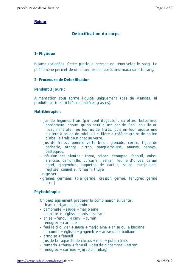 procédure de détoxification                                                     Page 1 of 3          Retour               ...