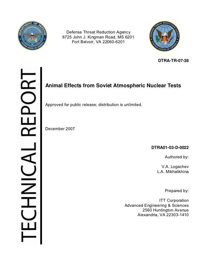 Defense Threat Reduction Agency         8725 John J. Kingman Road, MS 6201             Fort Belvoir, VA 22060-6201        ...
