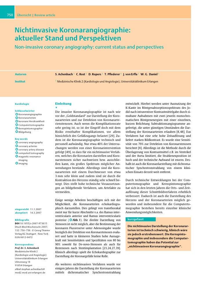 750    Übersicht | Review article          Nichtinvasive Koronarangiographie:       aktueller Stand und Perspektiven      ...