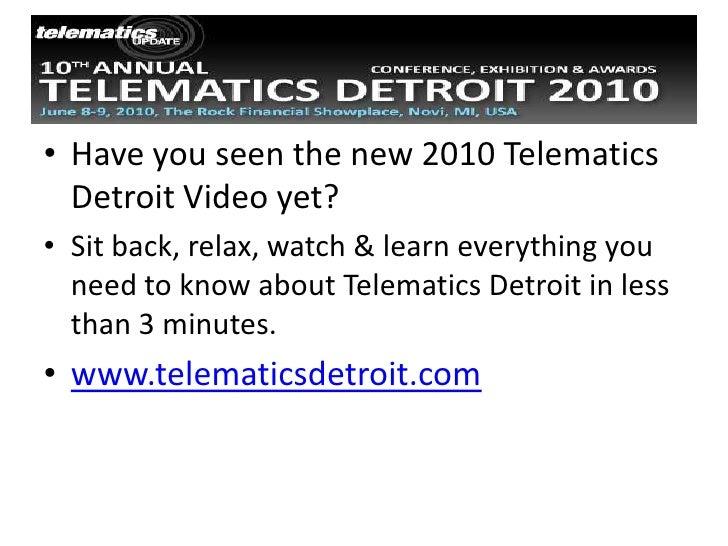 Telematics Detroit 2010 Videos