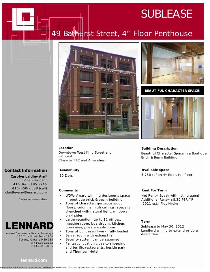SUBLEASE                                                  49 Bathurst Street, 4th Floor Penthouse                         ...