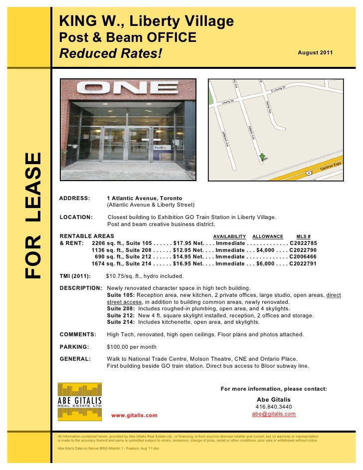 KING W., Liberty Village            Post & Beam OFFICE            Reduced Rates!                                          ...