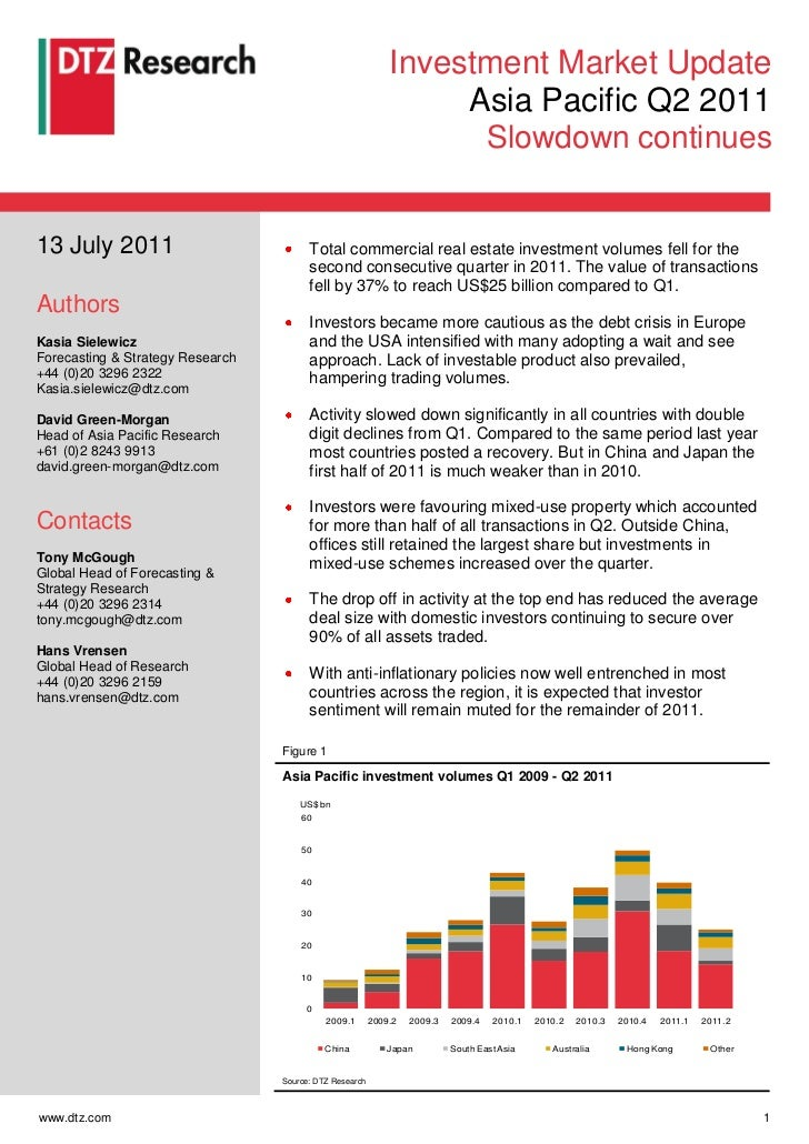 DTZ Research: Slowdown Continues in Asia Pacific Q2 2011
