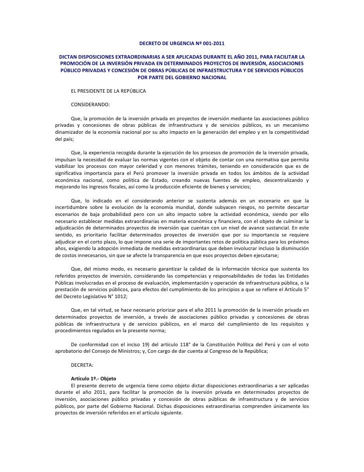 DECRETODEURGENCIANº001‐2011                                                                 DICTANDISPOSICIONESEXT...