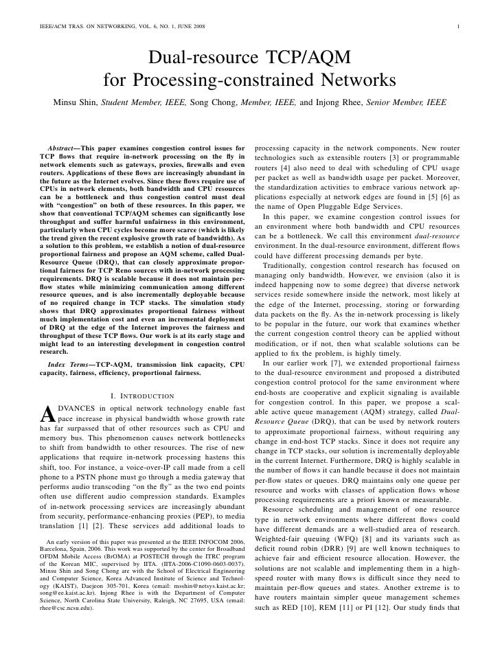IEEE/ACM TRAS. ON NETWORKING, VOL. 6, NO. 1, JUNE 2008                                                                    ...