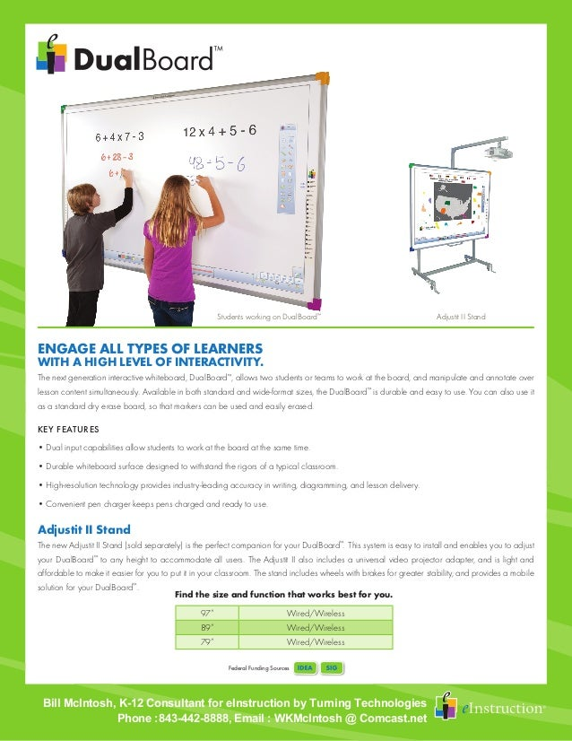 Federal Funding Sources The next generation interactive whiteboard, DualBoard™ , allows two students or teams to work at t...