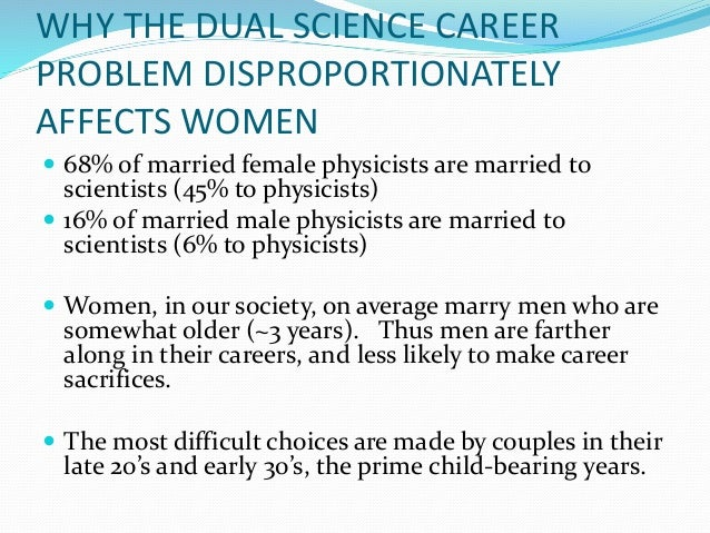 employment and dual career couples Among married-couple families, both the husband and wife were employed in 483 percent of families in 191 percent of married-couple families only the husband was employed, and in 71 percent only the wife was employed.