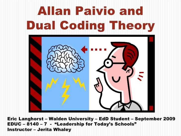 Allan Paivio and Dual Coding Theory Eric Langhorst – Walden University – EdD Student – September 2009 EDUC – 8140 – 7  -  ...