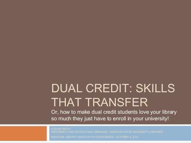 Dual Credit: Skills That Transfer
