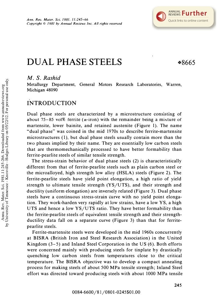 Dual phase steels