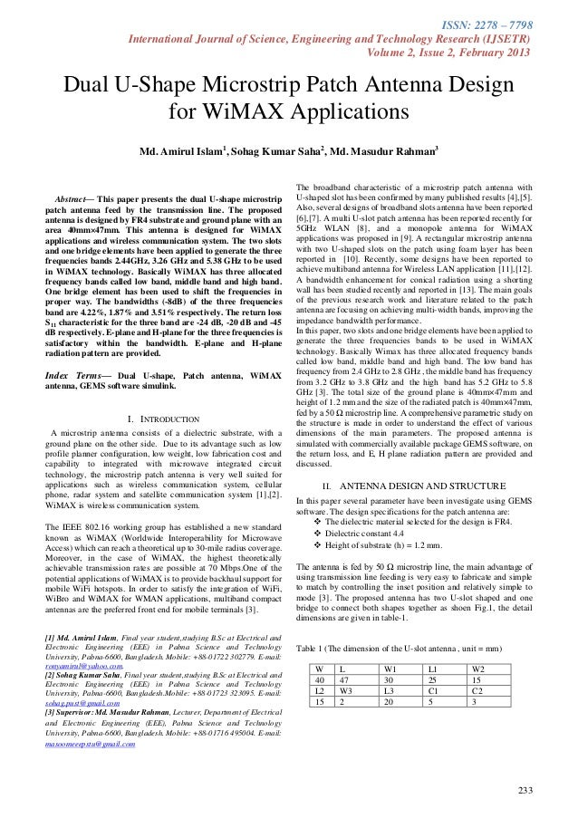 Dual u shape microstrip patch antenna design for wimax application by sohag kumar saha (www.ijsetr.org volume 2 issue 2 published february 2013)