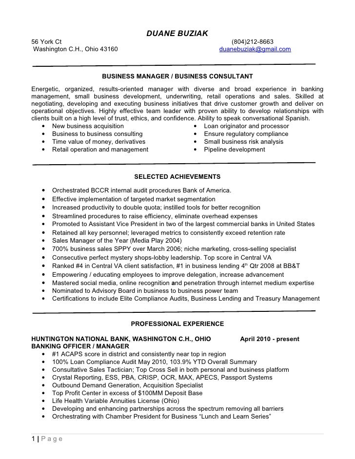Resume For Quicken Loans DUANE BUZIAK 56 York Ct ...