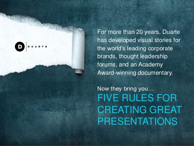 For more than 20 years, Duarte has developed visual stories for the world's leading corporate brands, thought leadership f...