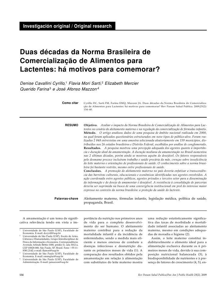 Investigación original / Original research     Duas décadas da Norma Brasileira de Comercialização de Alimentos para Lacte...