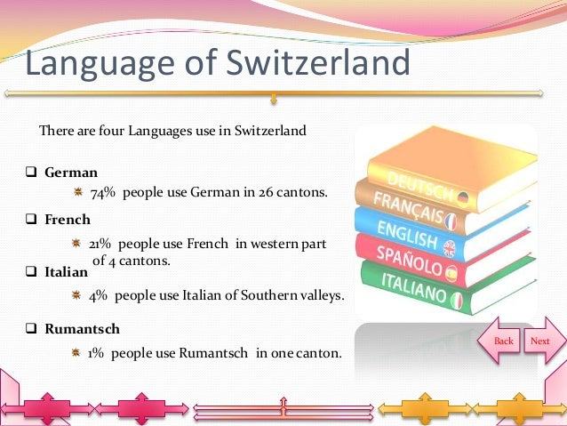 the language and people of switzerland The four national languages of switzerland are german, french, italian and romansh (french-speaking majority) 19 million people (or 244% of the swiss population) live in romandy.