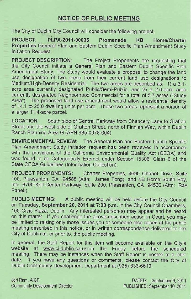 Dublin, CA Promenade Zoning Change Public Hearing Notice
