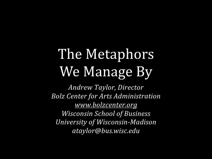 The Metaphors We Manage By