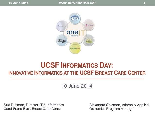 "UCSF Informatics Day 2014 - Sue Dubman and Alexandra Solomon, ""Innovative informatics at the UCSF Breast Care Center"""