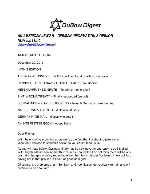 AN AMERICAN JEWISH – GERMAN INFORMATION & OPINION NEWSLETTER dubowdigest@optonline.net AMERICAN EDITION December 20, 2013 ...
