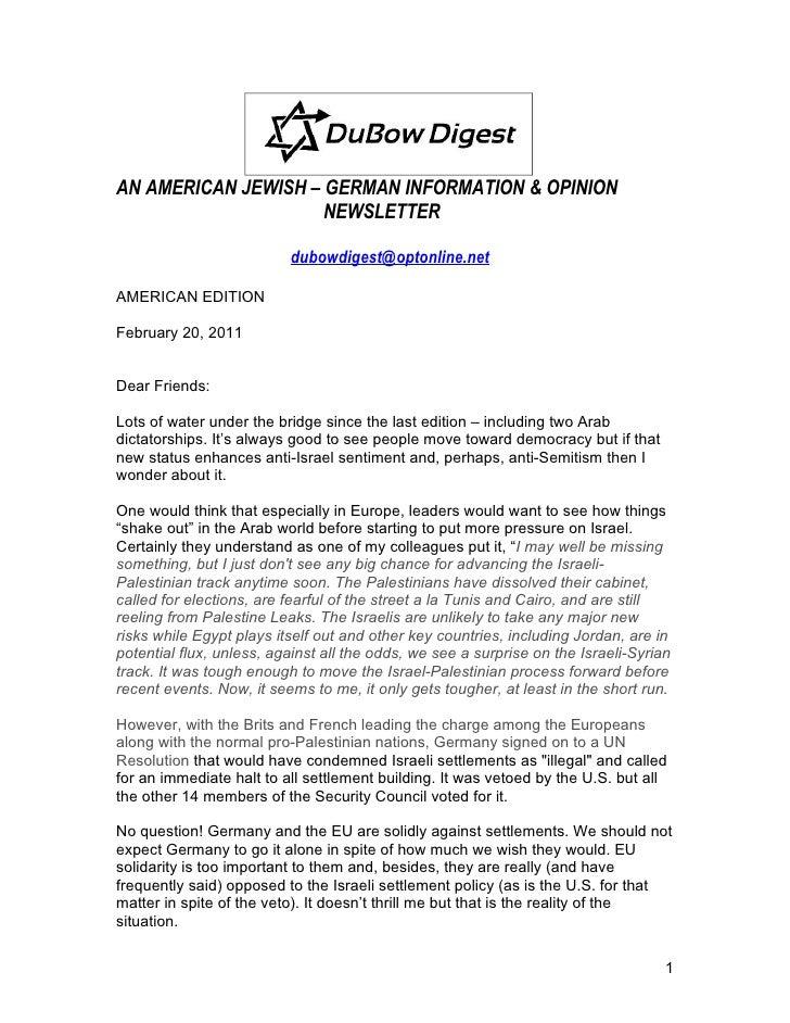 AN AMERICAN JEWISH – GERMAN INFORMATION & OPINION                     NEWSLETTER                          dubowdigest@opto...