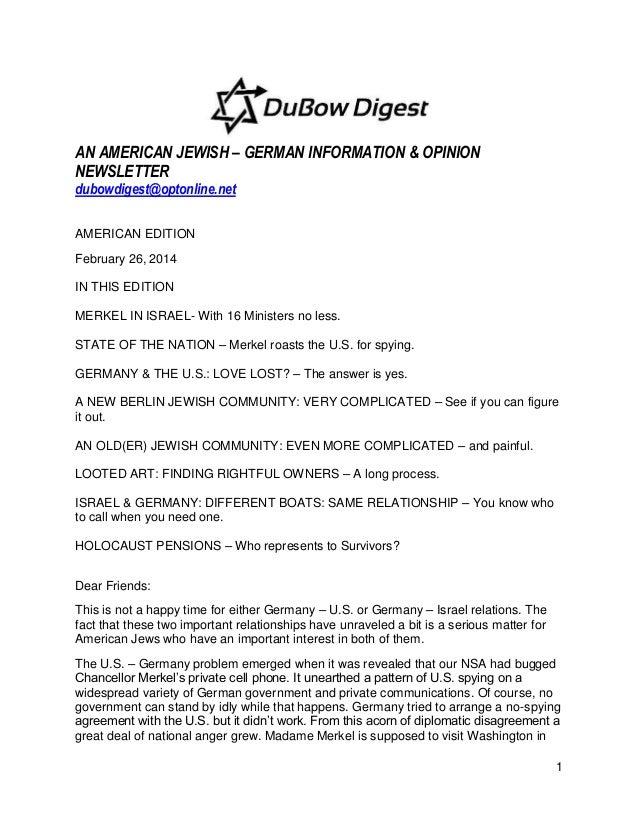 AN AMERICAN JEWISH – GERMAN INFORMATION & OPINION NEWSLETTER dubowdigest@optonline.net AMERICAN EDITION February 26, 2014 ...