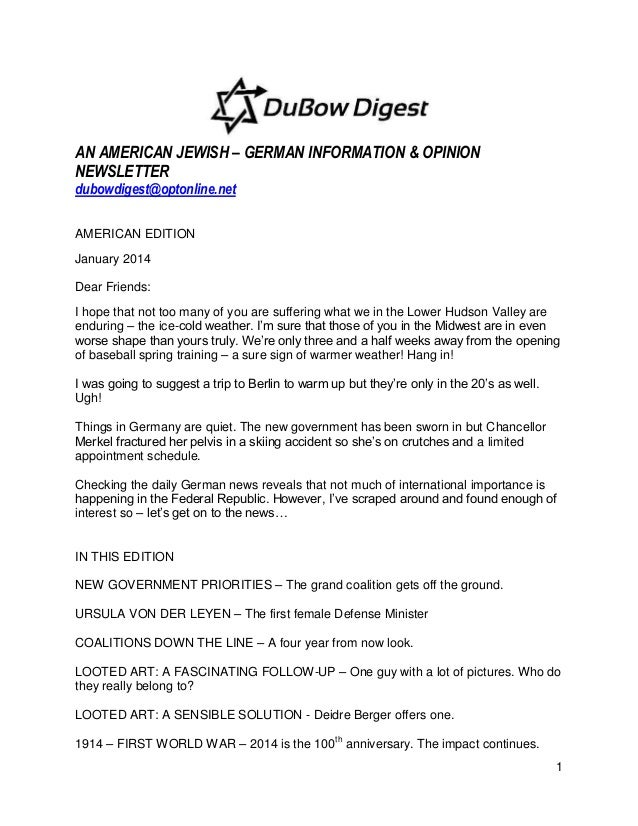 DuBow Digest American Edition January 24, 2014