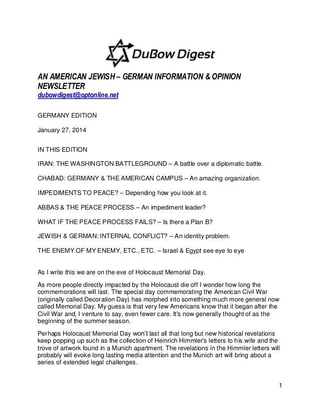 AN AMERICAN JEWISH – GERMAN INFORMATION & OPINION NEWSLETTER dubowdigest@optonline.net GERMANY EDITION January 27, 2014 IN...