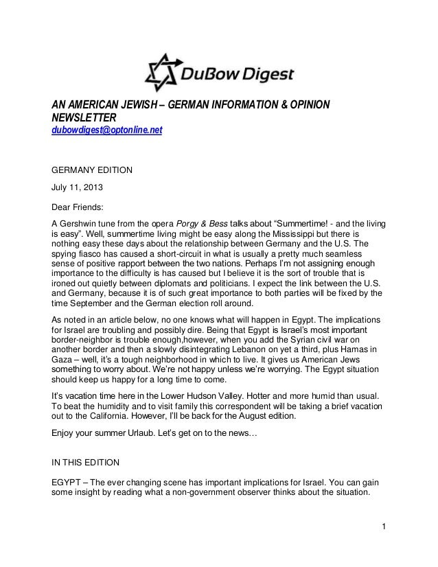 1 AN AMERICAN JEWISH – GERMAN INFORMATION & OPINION NEWSLETTER dubowdigest@optonline.net GERMANY EDITION July 11, 2013 Dea...