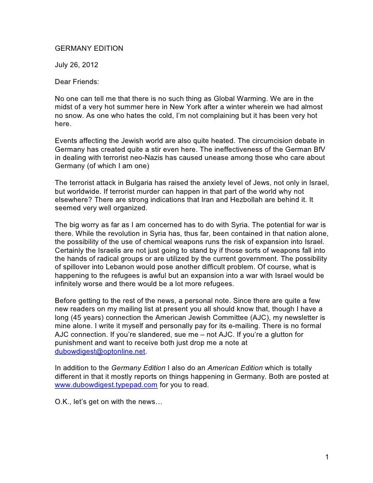 GERMANY EDITIONJuly 26, 2012Dear Friends:No one can tell me that there is no such thing as Global Warming. We are in themi...