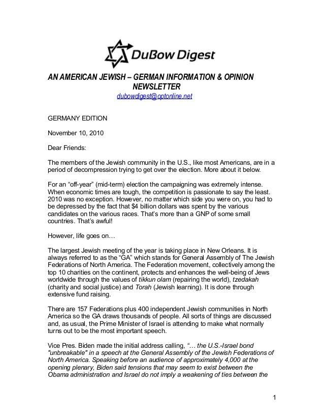 AN AMERICAN JEWISH – GERMAN INFORMATION & OPINION NEWSLETTER dubowdigest@optonline.net GERMANY EDITION November 10, 2010 D...