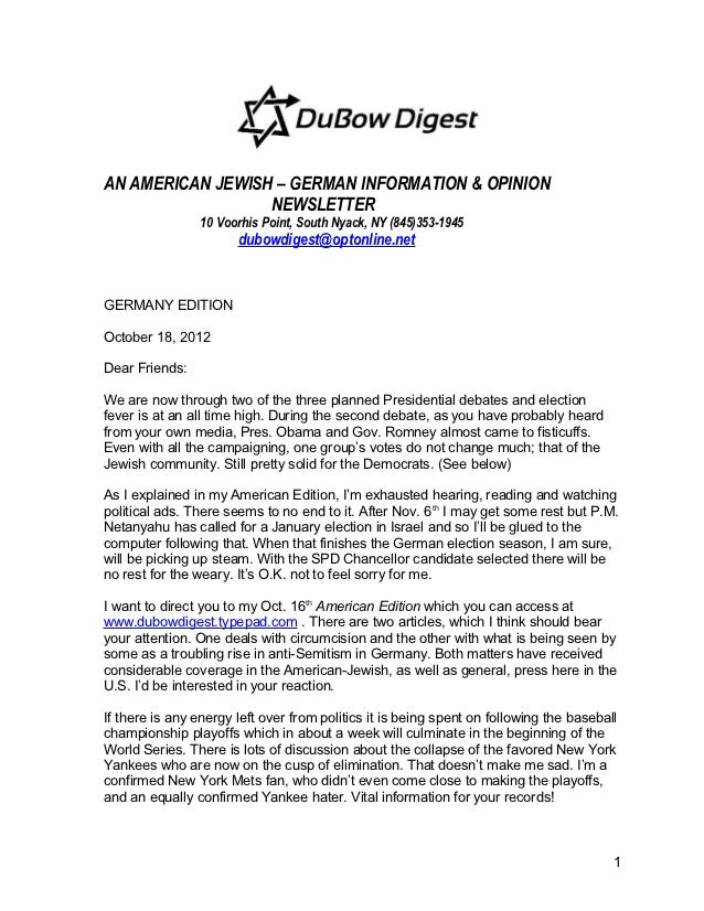 AN AMERICAN JEWISH – GERMAN INFORMATION & OPINION                  NEWSLETTER                10 Voorhis Point, South Nyack...