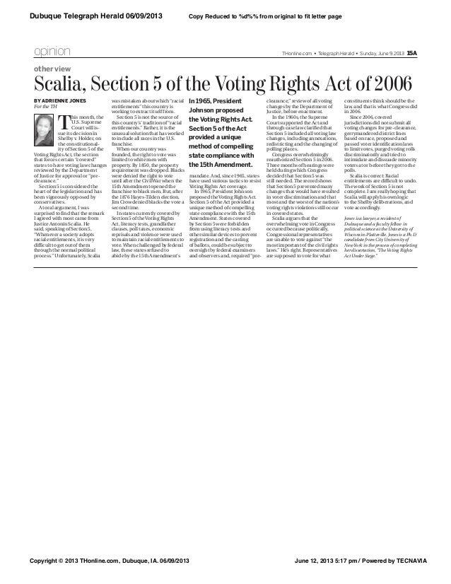 Adrienne Jones - Dubuque Telegraph Herald - Voting Rights