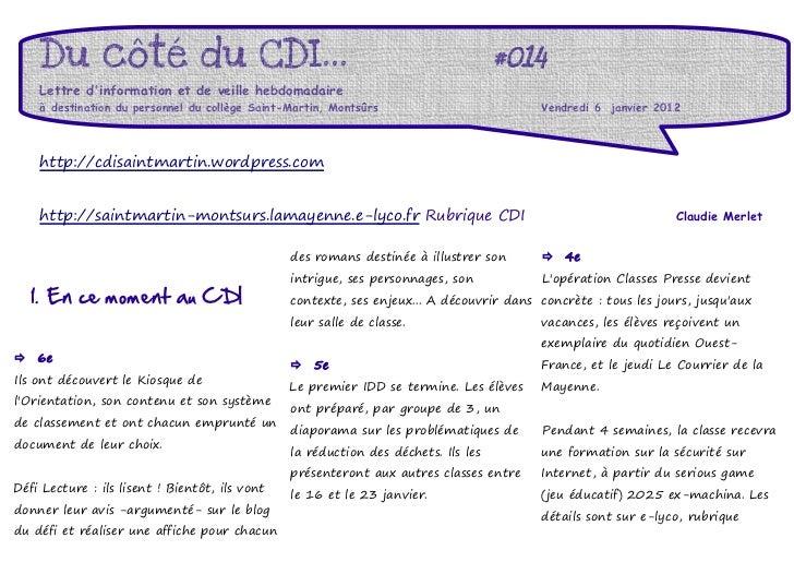 Du côté du CDI...                                                               #014    Lettre dinformation et de veille h...
