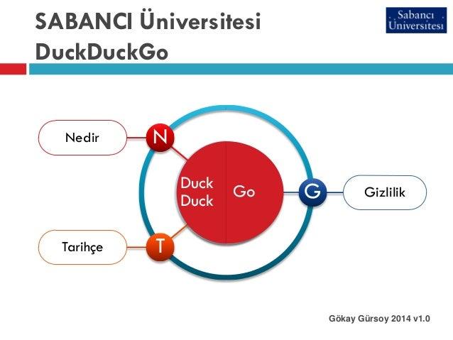SABANCI Üniversitesi DuckDuckGo Gökay Gürsoy 2014 v1.0 Nedir Duck Duck N Tarihçe T GizlilikGo G