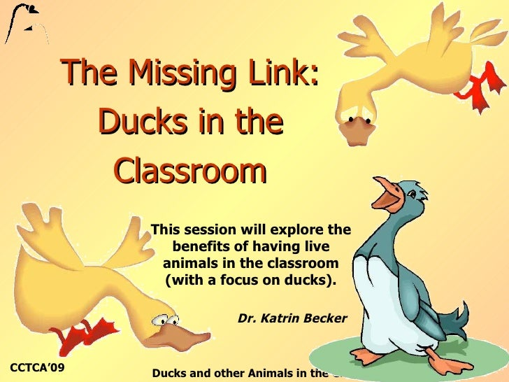 The Missing Link: Ducks in the Classroom This session will explore the benefits of having live animals in the classroom (w...